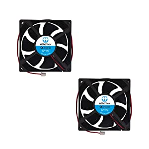 WINSINN 80mm Fan 12V Brushless 8025 80x25mm for Cooling PC Computer Case CPU Set-top Box Router Receiver DVR Playstation Xbox - 2Pin - High Speed (Pack of 2Pcs)