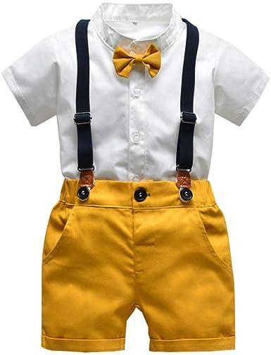 2019 Outfit Niño Ropa Para Bebe De Verano, 2Pcs Gentleman Camisas Bowtie De Manga Corta + Tirantes Shorts Correa Trajes Para Recién Nacido Infantil Bebés Niños De Fiesta Bautizo: Amazon.es: Ropa y