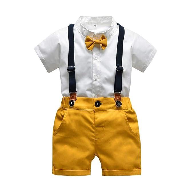 HucodeVan Trajes Ropa para Bebé Niño pequeño Pajarita Blusas Manga Corta de Color Liso Pantalones Correas Trajes Cortos Polos para niños de Boda ...
