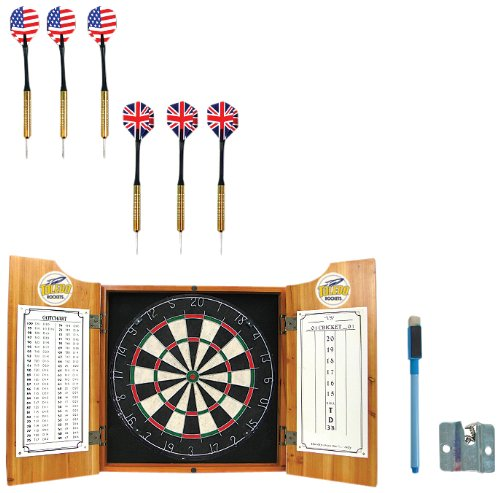 NCAA Toledo dart cabinet with Darts and Board by Trademark Global