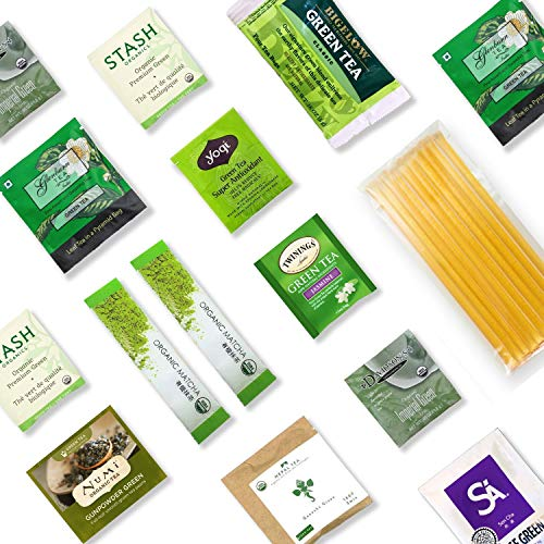 Green Tea Sampler Kit - 40+ Servings Green Tea Bags Assortment with 10 Honey Sticks. Perfect Sampler Gift for Tea Lovers Including Matcha Tea, Japanese Tea, etc