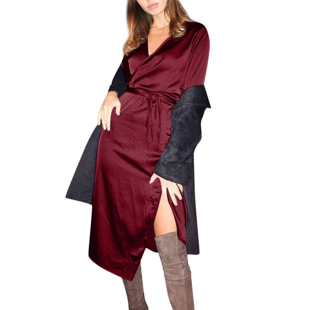 Club Dresses for Women,Dresses High Low with Sleeves,Long Maxi Dresses for Women,Dresses for Women Party Night,Vintage Dress,Wine,L