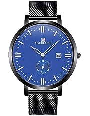 SIBOSUN Mens Thin Slim Watch Fashion Wrist Watches for Men Waterproof Quartz Watch for Man Date Stainless Steel