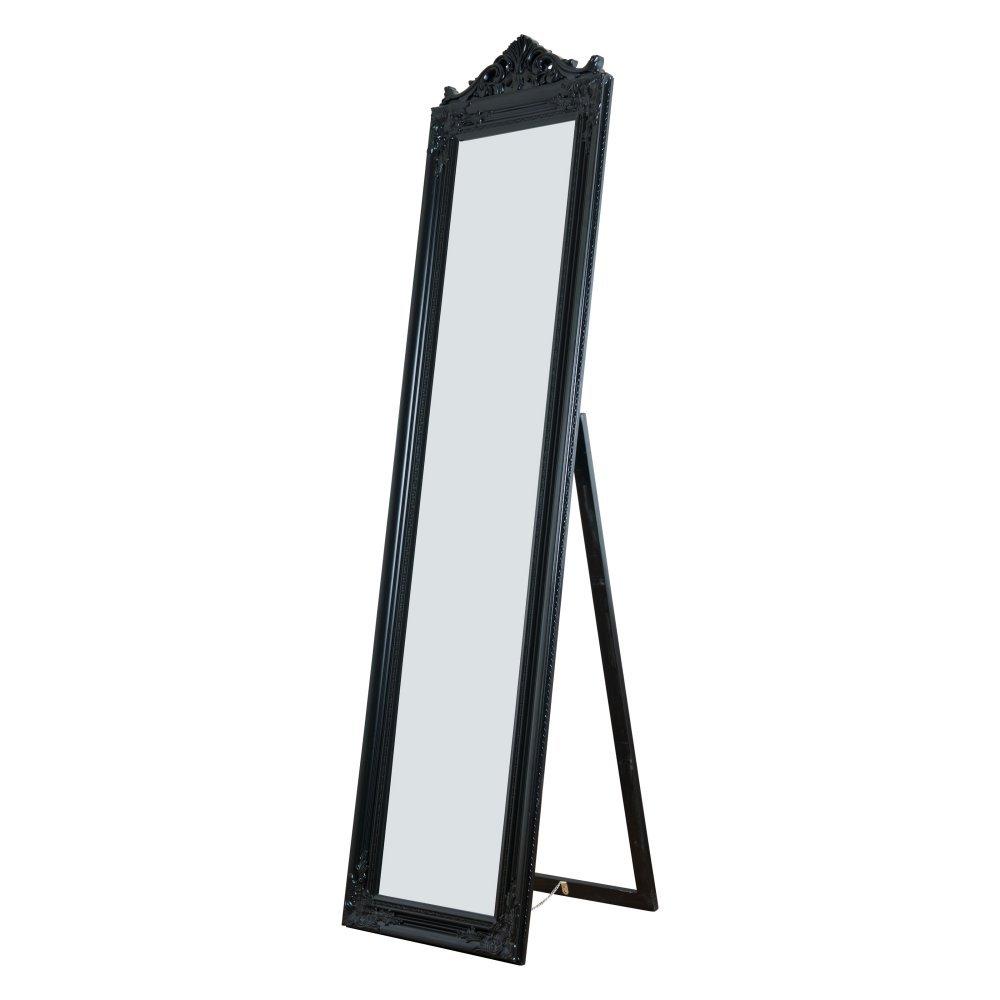 Milton Greens Stars Camilla Wooden Standing Mirror with Decorative Design, Black