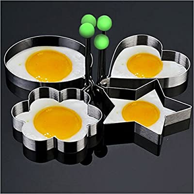 4x Stainless Steel Cooking Fried Egg Pancake Ring Mould Mold Shaper Kitchen Tool