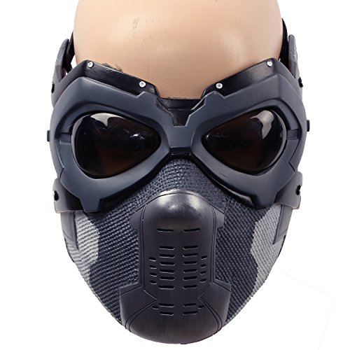 Winter Soldier Costume Accessories (Bucky Mask Updated Winter Soldier Barnes Mens Cosplay Costume Accessory Xcoser Painted)