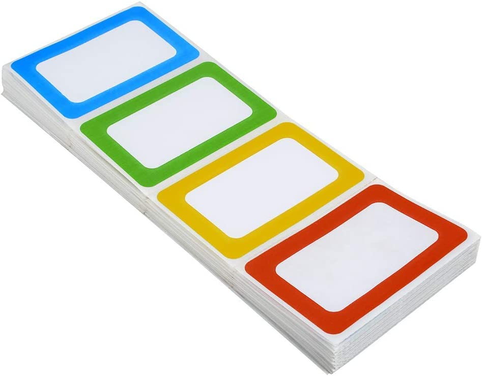 Immuson 200 Name Tag Labels Colorful Border Name Tag Stickers School Office Party Stickers