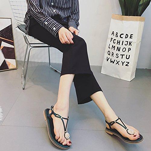 Mujer Moda tacones sandalias Black confortables altos verano 39 negro dCxqzBC