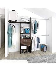 PLAYCON Closet armable Organizador OPTIMO con cajonera 2 cajones Ancho máximo de 246 cm Color Chocolate Texturizado