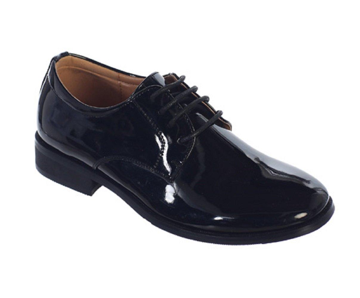 OLIVIA KOO Boys Classic Oxford Shiny Dress Shoes (Size 5 To Youth 5)