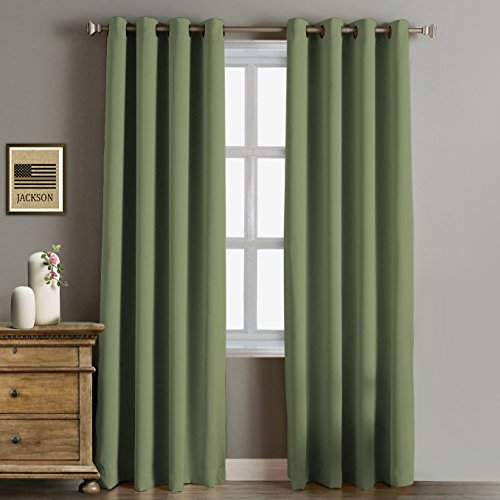Rose Home Fashion RHF Blackout Thermal Insulated Curtain - Antique Bronze Grommet Top for bedroom or living room, Grommet curtain,1 panel, 52W by 84L Inches-Olive (Curtain 1)