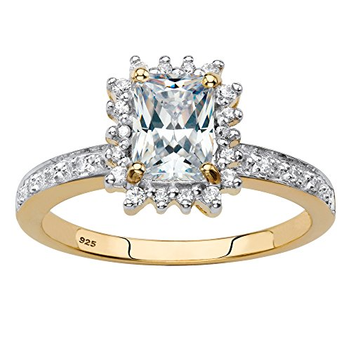 18k Gold over Silver Emerald Cut Created White Sapphire and Diamond Accent Engagement Ring Size 7 (Ascher Cut Diamond)