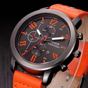 Men's Fashion Leather Sport Analog Quartz Stainless Steel Wrist Watch Waterproof, Fashion Lovely And High Quality Trendy Watch!, As a perfect gift for yourself or your friends (Ornge)