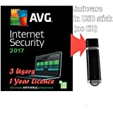 AVG Internet Security 2017 for 3 Users / Computers 1 Year Licence (Ultimate Antivirus Software, supplied in 2GB USB Stick, Windows 10, 8, 7 Compatible )