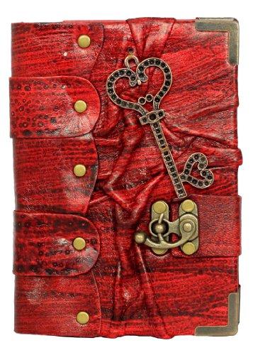 Corazón Colgante Clave EN Diario de Cuero Rojo/Diario/bloquear/ROJO Estilo Vintage/Notebook/pepel (Normal/Libro/Mujer/HOMBRE/Los NIÑOS/Trabajo de Oficina