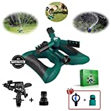 Tree-Inn Lawn Sprinkler, Garden Sprinkler Premium Kit, 3 Sprinkler Heads, Sprinklers for Yard, Outdoor, Kids Play, Automatic 360 Degree Rotating Adjustable Irrigation System, Speed & Range Control
