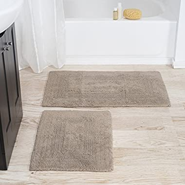 Lavish Home 100% Cotton 2 Piece Reversible Rug Set - Taupe