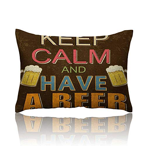 - Anyangeight Keep Calm Cool Pillowcase Have a Beer Vintage Poster Design with Foamy Glasses Cheers Old Pubs and Bars Long Pillowcase 20