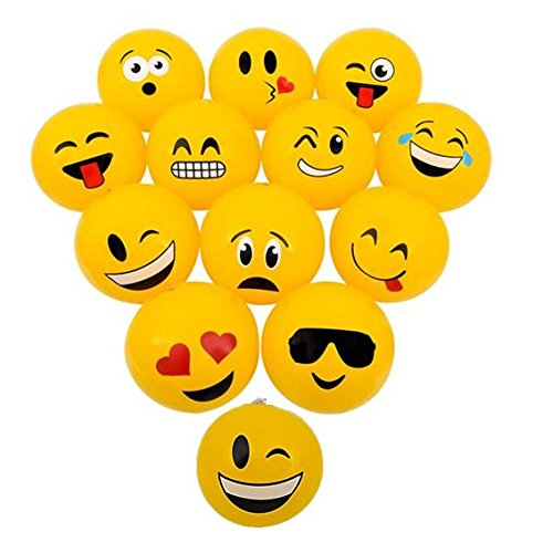 Playo Emoji Mini Beach Balls - 12 Emoticon Emoji Face Mini Inflatable Balls - 6 inch Beach Balls by PlayO