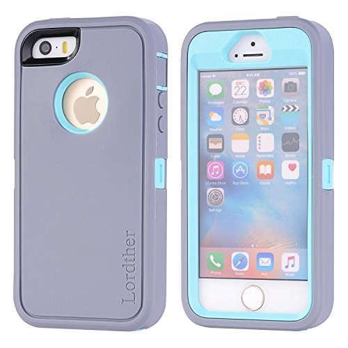 iPhone SE Case, Lordther [ShieldOn Series] [Military Grade Drop Test] Hybrid Synthetic Rubber TPU Covers with [Bonus Screen Protector] Only for iPhone SE 5SE 5 5s (Grey Blue)