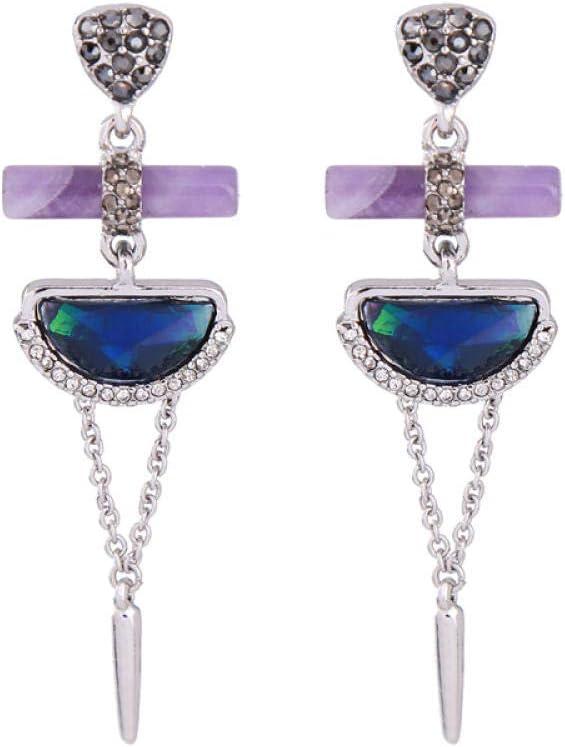 AYJMA Pendientes Vintage De Cristal De Resina Geométrica Azul Pendientes De Moda Étnica De Piedra Natural Púrpura Bijouterie