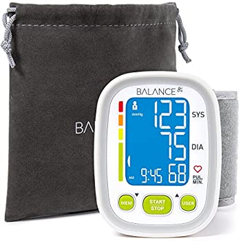 """Balance Wrist Blood Pressure Cuff Monitor, """"2017 Update"""" Ultra Portable High Accuracy Readings, Easy-to-Read LCD, Travel Bag included with Two User Support and 2-Year Warranty (2017)"""