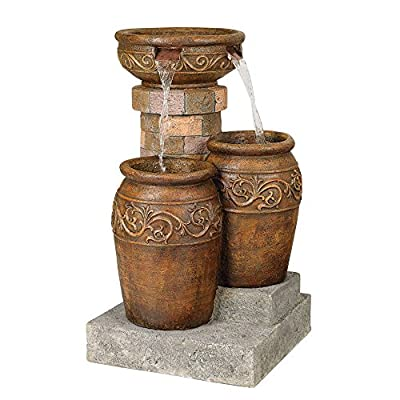 "Lamps Plus Tuscan Outdoor Floor Water Fountain with Light LED 31 1/2"" High Cascading for Yard Garden Patio Deck Home - John Timberland - 31 1/2"" high x 19"" wide x 19"" deep. Weighs 33 lbs. Tuscan stone traditional garden patio fountain from the John Timberland brand. Water flows from top basin into the two lower basins. Built-in LEDs in the two lower urns. - patio, outdoor-decor, fountains - 511WruloBvL. SS400  -"