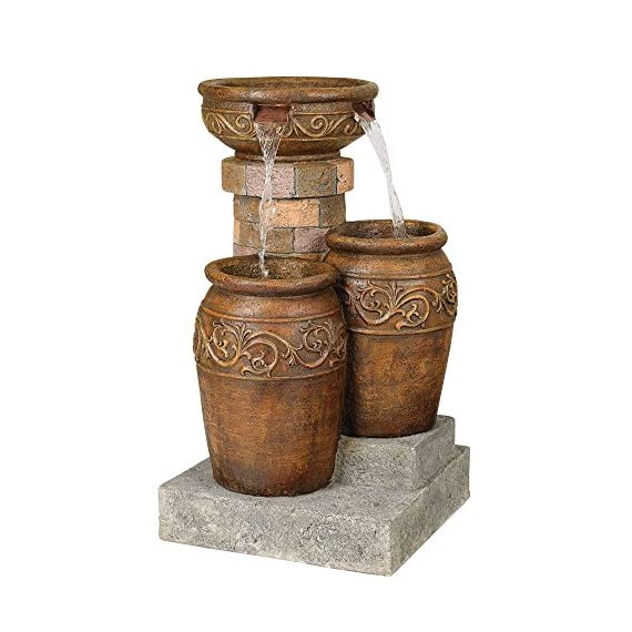 """John Timberland Tuscan Outdoor Floor Water Fountain with Light LED 31 1/2"""" High Cascading for Yard Garden Patio Deck Home - 31 1/2"""" high x 19"""" wide x 19"""" deep. Weighs 33 lbs. Tuscan stone traditional garden patio fountain from the John Timberland brand. Water flows from top basin into the two lower basins. Built-in LEDs in the two lower urns. - patio, outdoor-decor, fountains - 511WruloBvL. SS570  -"""