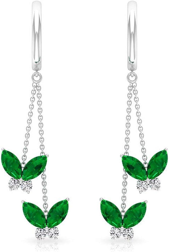 Pendientes de gota de esmeralda creados en laboratorio de mariposa, con certificado IGI, pendientes de aro de diamante, claridad de color IJ-SI, con clip.