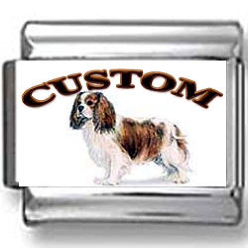 Spaniel Dog Photo Charm (Cavalier King Charles Spaniel Dog Custom Photo Italian)