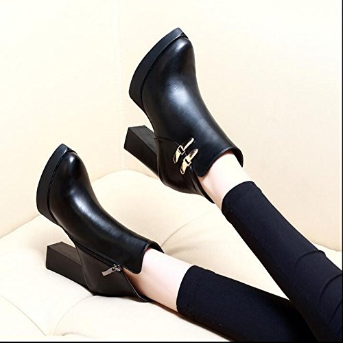 Martin And Shoes Winter 9Cm Version Black High Korean Retro Tip Boots The The Cotton With Autumn New The Of Shoes Female Heel KHSKX Versatile Fleece Rough Boots q6pa8w