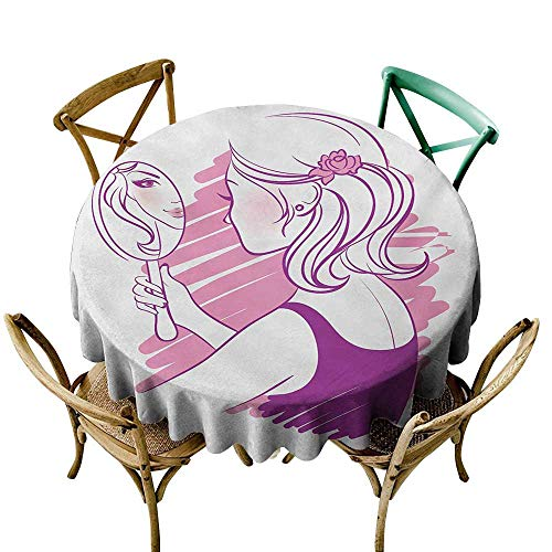 - Wendell Joshua Blue Tablecloth 50 inch Zodiac Gemini,Young Teenage Girl on Pink Looking at Herself in The Mirror,Purple Pale Pink and White Printed Indoor Outdoor Camping Picnic Circle Table Cloth
