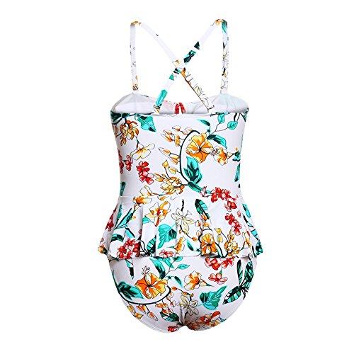 ... DD Frauen Bikini Sets Sexy Monokini Einteilige Große Größe Badeanzug  Tropischen Blumendruck Schößchen Badeanzug (M ... 8291b33b33