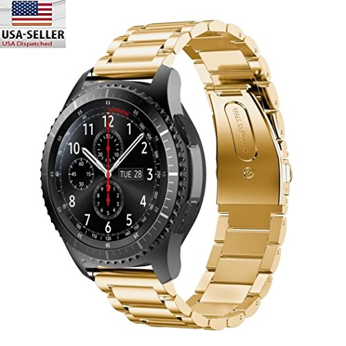 Galaxy Gear S3 Bands, Quick Release Pins BESTeck Stainless Steel Watch Band Strap Bands for Samsung Galaxy Gear S3 Classic/Frontier Smartwatch (Gold)