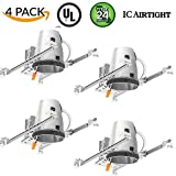Four Bros Lighting 4 Pack - 4'' inch New Construction LED Can Air Tight IC Housing LED Recessed Lighting - TP24 Connector