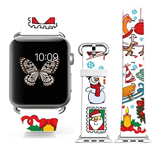 Strap Compatible For Apple Watch Series 4/3/2/1 38mm/40mm - ENDIY Designer Leather Fashionable Band Replacement For Iwatch - Funny Christmas snowman and cute little horse