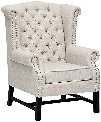 Baxton Studio Sussex Beige Linen Club Chair BH-63102 For Sale