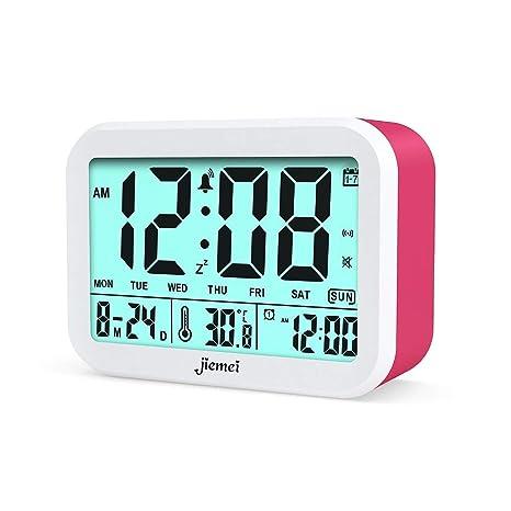 Reloj digital con despertador de la marca Jiemei. Relojes para niños y adultos, funciona con pilas, pantalla de 4,5 pulgadas, retroiluminación ...