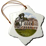 3dRose orn_61752_1 Whiteford Smith Library, Wofford College, Spartanburg, Sc (Vintage)-Snowflake Ornament, 3-Inch, Porcelain