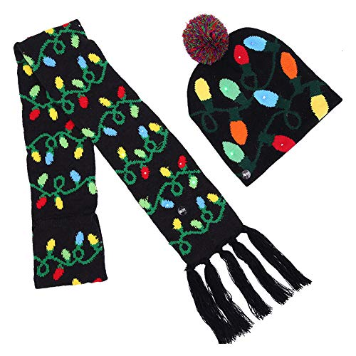 MCCKLE LED Light up Beanie Hats Christmas Knit Cap Kids Adults Novelty Funny Hat Gifts Adjustable Size - 3 Flashing Modes (Light String Hat and Scarf Set, Adjustable Size)]()