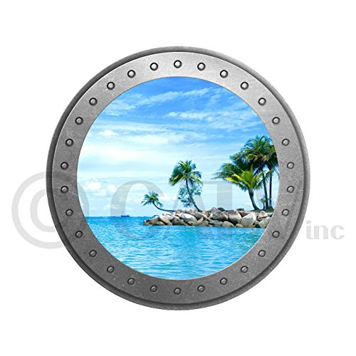 Porthole vinyl lettering decal home decor wall art saying nautical ocean (Island)