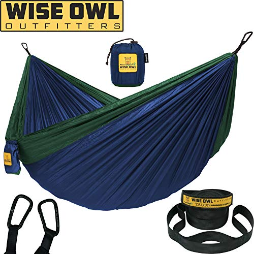 Wise Owl Outfitters Hammock for Camping Single & Double Hammocks Gear for The Outdoors Backpacking Survival or Travel - Portable Lightweight Parachute Nylon SO Navy & Forrest (Best Camping Hammock For Big Guys)