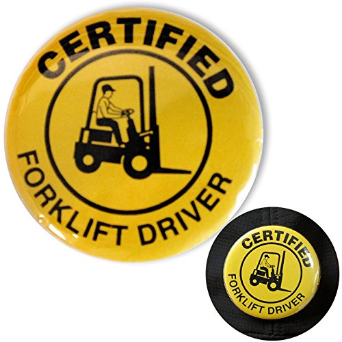 Certified Fork Lift Driver Safety Buttons, 5 Buttons/Pack, 2.25''