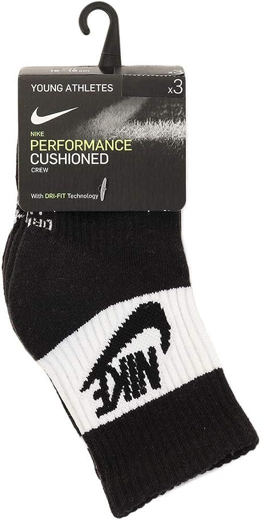 NIKE Girls Boys Youth Kids 3 Pack Pairs Young Athlete Socks White Size UK 9½-2½