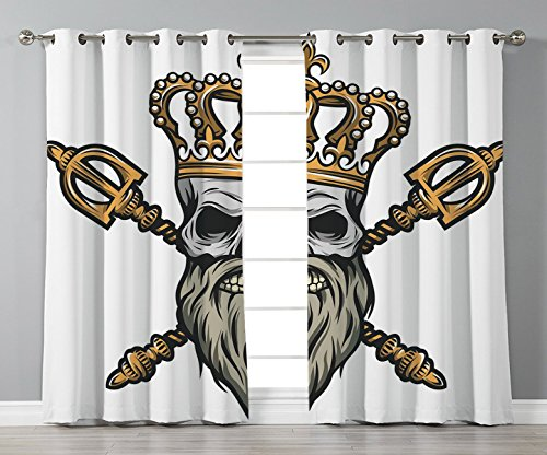 Thermal Insulated Blackout Grommet Window Curtains,King,Ruler Skull Head with Gray Beard Crossed Royal Scepter Cartoon Seemed Image,Golden and Light Grey,2 Panel Set Window Drapes,for Living Room -