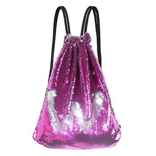 Shiny Mermaid Reversible Sequin Bag Drawstring Backpack for Girls (Rose/Silver)