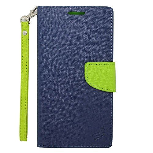 Motorola Google Nexus 6 Case, Insten Stand Folio Flip Leather [Card Slot] Wallet Flap Pouch Case Cover for Motorola Google Nexus 6, Dark Blue/Green