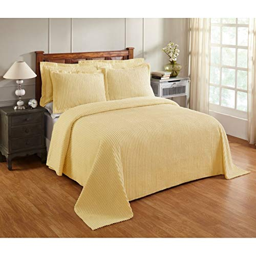 Oversized Yellow Chenille Bedspread Queen 102x110 Vintage Western Extra Long Bedding to The Floor Tufted Old Fashioned Traditional Antique Classic Cotton, 1 Piece