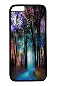 iPhone 6 Case, Personalized Unique Design Protective Cover for iPhone 6 PC Black Edge Case - Nature Trees Colorful