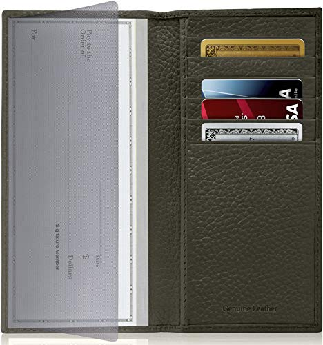 Genuine Leather Checkbook Cover For Women & Men - Checkbook Holder Check Book Covers For Duplicate Checks Card Wallet RFID